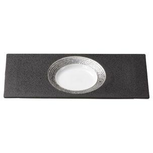 黒釉プラチナ吹 見込み丸長角皿