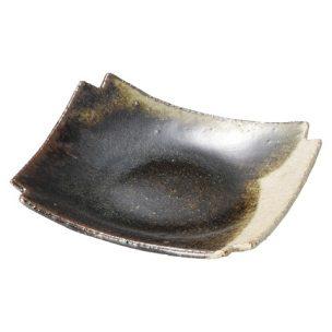 灰釉黒流 隅切銘々皿